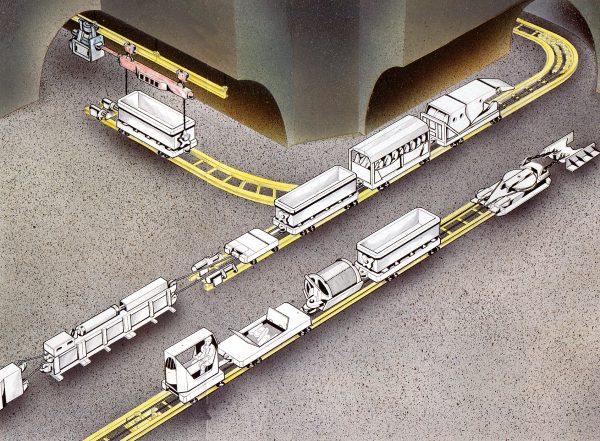 3D Illustration Schienenflurbahn Seil